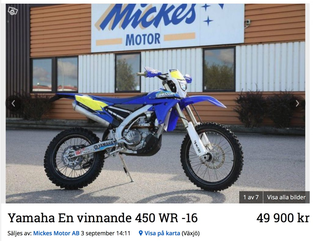 Andreas Carlssons vinnande Yamaha 450 WR.