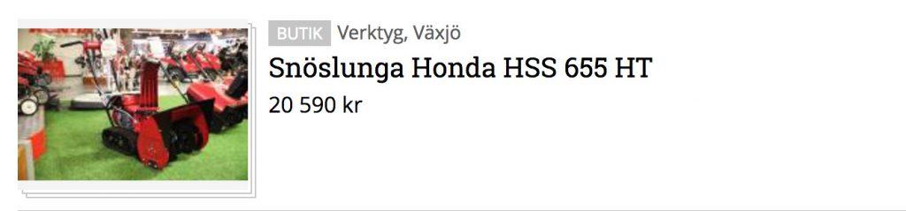 Honda HSS 655 HT - ny tvåstegs snöslunga med banddrift. Klicka på bilden för att se mer.